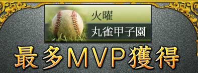 火曜丸雀甲子園最多MVP獲得