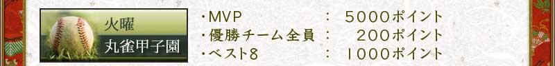 火曜丸雀甲子園 ・MVP:5000ポイント ・優勝チーム全員:200ポイント ・ベスト8:1000ポイント